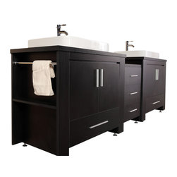 """Design Elements - Design Elements DEC083-E Vanity in Espresso - The Washington 92"""" double-sink vanity in espresso is stylishly constructed of solid plywood panels with veneer laminate. The stylish white rectangular sinks and sleek espresso cabinetry bring style and utility to any bathroom. This vanity includes soft-closing cabinet doors and five pullout drawers, all adorned with satin nickel hardware. The sides of the vanity feature a removable towel bar and shelving for additional storage and utility. Two matching mirrors with shelves are included. The Washington Bathroom Vanity is designed as centerpiece to awe and inspire the eye without sacrificing quality, functionality, or durability."""