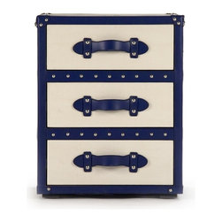 """Zentique - Adalie Bedside Table by Zentique - Simplicity never looked better. A solid ash wood bedside table has plenty of storage space as well as superb style. Cream vinyl tightly covers the table while navy borders, nail heads, and strap handles lend impeccable contrasting details. Consider two flanking a bed with complimenting mirrors over each. (ZEN) 20"""" wide x 25.5"""" high x 17"""" deep"""