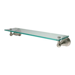 """Kingston Brass - Kingston Brass Satin Nickel Heritage Glass Shelf BA1759SN - Kingston Brass' bathroom accessories are built for long-lasting durability and reliability. They are designed so you can easily coordinate matching pieces. Each piece is part of a collection that includes everything you need to complete your bathroom decor. All mounting hardware is included and installation is easy. Manufacturer: Kingston Brass. Model:BA1759SN. UPC: 663370025891. Product Name: Glass Shelf. Collection / Series: Heritage. Finish: Satin Nickel. Theme: Classic. Material: Brass/Glass. Type: Accessories. Features: Extends 6"""" from the wall. 20-1/2"""" total length. Premium finish. Easy installation. All mounting hardware included."""