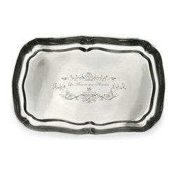 Rectangle Tray - Pewter - Small - Subtle, elegant etching in the face of the Small Pewter Rectangle Tray enhances the grace of this metallic piece. Scalloped edges give a tasteful look to the dark pewter plate, which is perfectly sized for duty as a vanity tray or for holding condiments on an upscale buffet. Traditional and charming, the tray is a beautiful addition to an antique or modern pewter collection.