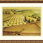 Amanti Art - Fall Plowing, 1931 Framed Print by Grant Wood - \'I realized that all the really good ideas I'd ever had came to me while milking a cow. So I went back to Iowa.\' - Grant Wood. An American Master, Grant Wood is famous for his unique painting style that proudly captures the rural Midwest that so inspired him.