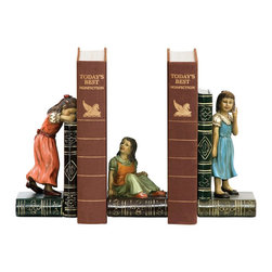 Sterling Industries - Sterling Industries Set Child Games Bookends X-8442-19 - Three young girls engage in a game of hide-and-seek in this Sterling Industries bookend set. The frames have been recreated to mimic the look of leather bound books. The girls themselves each don a different colored dress and are posed differently to add interest and whimsy to your bookshelves.