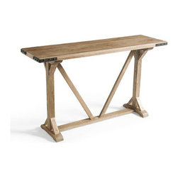 Grandin Road - Tyler Console - Trestle-style sideboard console table with a touch of farmhouse flair. Handcrafted from solid hardwoods. Zinc-finished metal corner brackets and hardware. Simple assembly; tools included. Just the right size for the dining room or entryway, the trestle-style Tyler console offers the warmth of natural wood, handsomely handcrafted with a touch of rustic character. Classic cross bracing and zinc-finished corner hardware make it a lasting statement piece in any space. Use yours as a sideboard or a buffet, or settle one in behind the sofa.  .  .  .  .