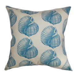 """The Pillow Collection - Bahari Aquatic Pillow Aqua - Inspired by the sea, this decor pillow will add a refreshing twist to your interiors. This throw pillow is adorned with aquatic creatures in blue and set against a white background. The 100% pure cotton adds a plush and soft feel to this accent pillow. This square pillow is a lovely addition to contemporary, coastal and modern decor styles. Place this 18"""" pillow anywhere inside your home and combine with other patterns or solids. Hidden zipper closure for easy cover removal.  Knife edge finish on all four sides.  Reversible pillow with the same fabric on the back side.  Spot cleaning suggested."""
