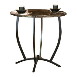 Cramco - Cramco Electra Round Ebony Faux Marble Top Counter Height Table with Black Base - Features: