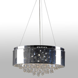 "IFN Modern - Penter Drum Chandelier - Create a warm ambiance in your home with this 6-light drum pendant. The cylindrical shade is silver finished and features crystal hangings which reflect sufficient light all over the room. This chandelier can be used to give a contemporary look in either your dining or living room.â— Metalâ— Chrome Finishâ— 20 Watt Halogen (Not Included)â— 6.6lbsâ— 15"" Shade Diameterâ— 110 Volts"
