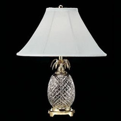 "Waterford Crystal - Waterford Crystal Hospitality Table Lamp Brass 280922500 - Waterford Hospitality Table Lamp  -  During the 18th Century, pineapples were a symbol of welcome and hospitality. Inspired by this, the Hospitality Collection by Waterford features stunning crystal characterized by rich cutting and distinctive scalloped tops; reminiscent of this exotic fruit. This stunning Table Lamp brings radiance to any desk or bedside table. Polished Brass Finish details complement the intricate detailing of the Hospitality pattern's signature cuts, while the Khaki And  Gold Stripe Shade beautifully diffuses the light from an up to 100 watt bulb.  -  Don't Buy From An Unauthorized Dealer  -  Genuine Waterford Crystal  -  Size: 25"" x 17""  -  Fully Authorized U.S. Waterford Crystal Dealer  -  Brand New In The Original Waterford Crystal Box  -  Each Piece Is Checked 4 Times To Ensure It Arrives In Perfect Condition  -  Stamped With The Waterford Seahorse Symbol Of Excellence  -  Waterford Crystal Table Lamps Collection  -  Waterford Crystal UPC Number: 91571147218"