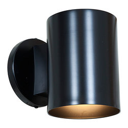 Access Lighting - Black Poseidon Wall Washer - Illuminate your patio with this sconce that features a streamlined design for a mod look.   4'' W x 13.19'' H x 6'' D Metal 120 V Requires one 60 W incandescent bulb (not included) Assembly and hard-wire installation required Professional installation recommended 1-year warranty Imported