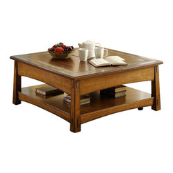 Riverside Furniture - Riverside Furniture Craftsman Home Square Lift Top Cocktail Table in Americana O - Riverside Furniture - Coffee Tables - 2901 - Riverside's products are designed and constructed for use in the home and are generally not intended for rental commercial institutional or other applications not considered to be household usage.