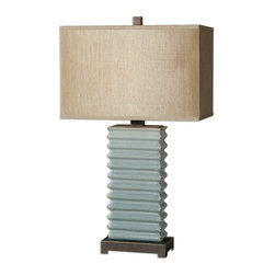 Carolyn Kinder - Carolyn Kinder Lupara Crackled Blue Transitional Table Lamp X-1-66462 - Ribbed ceramic finished in a distressed crackled blue glaze with dark rustic bronze details and gold highlights. The rectangle hardback shade is silken golden bronze fabric.