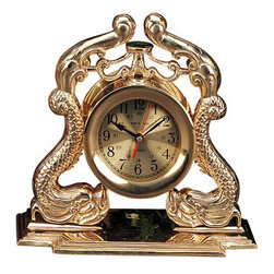 """16"""" Polished Brass Dragon Quartz Clock - The polished brass dragon quartz clock measures 15"""" x 8"""" x 16"""". This clock features hand crafted brass shaped into intricate dragons on each side of the clock. It makes a great gift and is a beautiful addition to the home, office or restaurant/bar."""