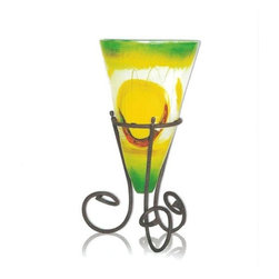 Mathews & Company - Lemon Tree Somerton Vase with lron Base - The Lemon Tree Somerton vase is a stunning piece, likely to steel attention away from anything placed inside it. Its brilliant yellows interspersed with stretches of clear glass give the vase a distinctly clean and airy feel reminiscent of outdoors in summer. At eighteen inches, the Lemon Tree Somerton vase is more likely to accent and complement a d̩cor than to dominate the landscape. The vase rests in an appropriately elegant wrought iron base. Each base is hand crafted by Mathews & Company artisans and is available in one of four finishes: natural black, rust, aged pewter, and aged bronze. Pictured in Black finish.