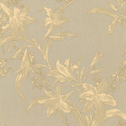 Metallic Gold and Beige Floral Wallpaper - Give your walls a traditional look with a modern flare with wallpaper from the Regent Collection by Brewster.