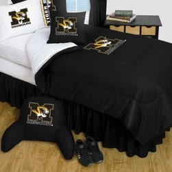 Sports Coverage - Missouri Tigers Bedding - NCAA Comforter and Sheet Set Combo - Queen - This is a great University of Missouri Tigers NCAA Bedding Comforter and Sheet set combination!. Buy the Microfiber Sheet set with the Comforter and save off our already discounted prices. Comforter is made from 100% Polyester Jersey Mesh - just like what the players wear. The fill is 100% Polyester batting for warmth and comfort. Authentic team colors and logo screen printed in the center. Soft but durable. Machine washable in cold water. Tumble dry in low heat.   Microfiber Sheet Hem sheet sets have an ultrafine peach weave that is softer and more comfortable than cotton.  Its brushed silk-like embrace provides good insulation and warmth, yet is breathable.  The 100% polyester microfiber is wrinkle-resistant, washes beautifully, and dries quickly with never any shrinkage. The pillowcase has a white on white print beneath the officially licensed team name and logo printed in vibrant team colors, complimenting the NEW printed hems. The Teams are scoring high points with team-color logos printed on both sides of the entire width of the extra deep 4 1/2 hem of the flat sheet.   Includes:  -  Flat Sheet - Twin 66 x 96, Full 81 x 96, Queen 90 x 102.,    - Fitted Sheet - Twin 39 x 75, Full 54 x 75, Queen 60 X 80,    -  Pillow case Standard - 21 x 30,    - Comforter - Twin 66 x 86, Full/Queen 86 x 86,