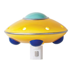 "Other - Kids UFO Flying Saucer Night Light - This colorful night light features a classic flying saucer. Illuminate your walkway or bedroom at night with this convenient fixture. Multicolor finish. Porcelain construction. Includes one 4 watt bulb and swivel plug. 5 1/4"" wide. 3 5/8"" high. 3 5/8"" deep.  Multicolor finish.  Porcelain construction.  Includes one 4 watt bulb and swivel plug.  5 1/4"" wide.  3 5/8"" high.  3 5/8"" deep."