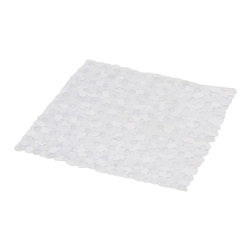 Shower Mat with Holes PVC Transparent - This shower mat with holes is in PVC and is mildew-resistant. Designed to look and feel comfortable with its holes, it inhibits the growth of stain and odor-causing mold and mildew on the tub mat. This square bath mat features skid-resistant suction cups that should be applied to smooth surfaces only for optimal safety. This beautiful bath rug brings an edgy style to your shower while providing a safe bath surface. Machine wash cold and no dryer. Length 20-Inch and width 20-Inch. Color transparent. This fashionable shower mat adds a stylish element to your bathroom! Complete your bath decoration with other products of the same collection. Imported.