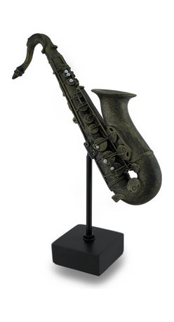 Zeckos - Bronze Finish Saxophone on Stand Decorative Sculptural Statue - This stylized saxophone sculpture is a beautiful way to herald your love for music and musical instruments Crafted from resin, this 9 inch high, 7 inch long, 2 inch wide (23 X 18 X 5 cm) saxophone statue would look amazing on any shelf, tabletop, desk or bookcase whether in your home, at the office, or in your entertainment room featuring a hand-painted antique bronze finish This sculptured saxophone statue is a wonderful gift both music players and lovers alike are sure to admire