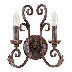World Imports - Medici Collection 2-light Oxide Bronze Finish Wall Sconce - Setting: Indoor Fixture finish: Bronze Shades: Tea-stained glass