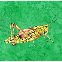 Caroline's Treasures - Grasshopper On Green Kitchen Or Bath Mat 24X36 - Kitchen or Bath COMFORT FLOOR MAT This mat is 24 inch by 36 inch. Comfort Mat / Carpet / Rug that is Made and Printed in the USA. A foam cushion is attached to the bottom of the mat for comfort when standing. The mat has been permenantly dyed for moderate traffic. Durable and fade resistant. The back of the mat is rubber backed to keep the mat from slipping on a smooth floor. Use pressure and water from garden hose or power washer to clean the mat. Vacuuming only with the hard wood floor setting, as to not pull up the knap of the felt. Avoid soap or cleaner that produces suds when cleaning. It will be difficult to get the suds out of the mat