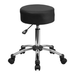 Flash Furniture - Flash Furniture Medical Ergonomic Stool with Chrome Base - BT-191-1-GG - This backless stool is practical for any fast-paced environment. The small frame design of a backless stool makes it easy to maneuver around tight spaces with ease. This stool can be used in a multitude of environments from the Classroom, Doctor's Offices, Hospitals, Garages and Workshops. The durable upholstery makes it easy to clean when working with liquids that can damage and stain your seat. The adjustable height and comfortably cushioned seat makes this stool a great buy to exceed your expectations. [BT-191-1-GG]