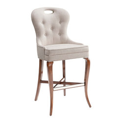 Kathy Kuo Home - Anais Modern Classics Tufted Faux Flax Linen Counter Stool - Settle in for a comfortable stay at the kitchen or dining room counter. Kiln-dried, responsibly harvested European birch hardwood is crafted into elegantly curved legs. Light ivory faux linen upholstery creates a soft, curved, tufted seat with a high back, encouraging your friends and family to sit back and relax in style.