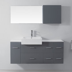 VIRTU - Virtu USA Enya 55-inch Grey Single Sink White Stone Vanity Set - The Hazel vanity offers a modern design with unique characteristics. Vanity features an oversized off-centered basin,one soft closing door,five soft closing drawers and more.