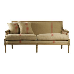 Kathy Kuo Home - St. Germain French Style Red Stripe Linen Louis XVI Sofa - Eclectic traditional spaces will find this Louis feels right at home. Combining the delicate formality of a French settee with a distinctly unfussy British striped linen, this sofa fits beautifully into contemporary and vintage rooms.