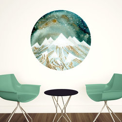 My Wonderful Walls - Summer Starlight Wall Decal - Zodiac Art by Elise Mahan, Small - - Product:   mountains with Pisces and Leo wall decal