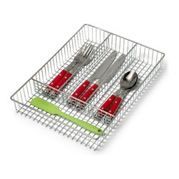 Spectrum Diversified Designs - Chrome Cutlery Tray - Keep silverware, kitchen utensils and gadgets organized with our Small Grid Flatware & Cutler Tray. This four-section tray is also great for organizing office supplies. Made of sturdy steel, with a chrome finish.