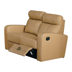 Beverly Hills Furniture - Slope Leather Loveseat (Taupe) - Color: TaupeButtery soft top grain leather . Double Leggett and Platt recliner on loveseat. Kiln dried solid wood frame construction for durability. Reinforced corner blocks for added strength. Interwoven webbed base with sinuous spring suspension. Pocket coil core with high density foam seating. Polyester fiber back rest for added comfort. Contemporary design without compromising comfort. 35 in. W x 55 in. L x 37 in. HWrapped in soft leather and filled with high density foam, the Slope loveseat offers contemporary lines without sacrificing comfort.  Its frame is built with kiln-dried solid wood and reinforced with corner blocks to ensure years of comfortable seating.  The recliners offer multi-stage positions for personalized comfort.