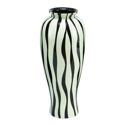 Aspire - Modern Zebra Print Floral Vase - Bring the wild outdoors into your home with this modern rendition of a zebra print vase. The zebra print and size of this vase make it a perfect addition to almost any theme as a functional furniture piece. You can use it for storage of your favorite floral stems or simply use it as an accent. Polystone. Color/Finish: Black, off-white. 28 in. H x 12 in. W x 12 in. D. Weight: 5 lbs.