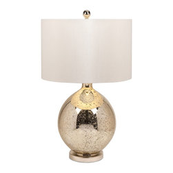 iMax - iMax Avignon Mercury Glass Table Lamp X-30668 - A picturesque lamp full of beauty, elegance and grace, the Avignon mercury glass base has a simple rounded form and is topped with a sateen ivory drum shade.
