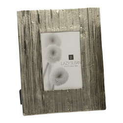 "Lazy Susan - Aluminum Bark Frame - -Use 5"" X  7"" Photo"