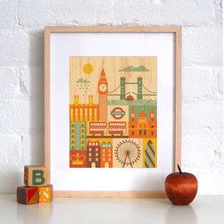 Petit Collage London - Print on Wood - London - Print on Wood