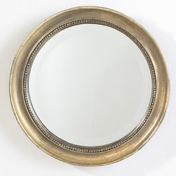 Round Beaded Mirror - You might find yourself gazing a little too long into this handsome mirror. The round frame is handcrafted from lightweight resin (making it easy to hang), and a metallic finish gives it an antique-like quality. Though small in size, the weathered finish, beaded detail, and beveled-edge glass give this piece exquisite looks to be admired no matter where it hangs.