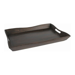 Arteriors - Margo Tray - Trays are a must-have decorating accessory. Use one to corral everything from books and decorative objects on a tabletop, towels and bath items on a vanity, or soft-boiled eggs and freshly squeezed juice bedside. However you use it, this curvy wood tray with handles will help you serve everything up in style.