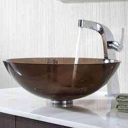 Kraus - Kraus Clear Brown Glass Vessel Sink and Typhon Faucet - Add a touch of elegance to your bathroom with a glass sink combo from Kraus.
