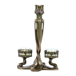 US - 9.75 Inch Taper and 2 armed Tealight Tulip Art Nouveau Candle Holder - This gorgeous  9.75 Inch Taper and 2 armed Tealight Tulip Art Nouveau Candle Holder  has the finest details and highest quality you will find anywhere!  9.75 Inch Taper and 2 armed Tealight Tulip Art Nouveau Candle Holder  is truly remarkable.