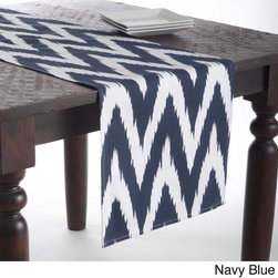 None - Chevron Design Table Runner - Crafted of 100-percent cotton,this fabulous table runner sports a trendy Chevron design for a contemporary addition to your dining area. Liven up your dinner table with a pop of color and exciting print of this trendy table runner.