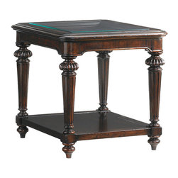 Frontgate - Sheffield Rectangular End Table - Features metal bail pulls and ring hardware with a burnished, aged brass patina. Moderately distressed russet brown finish on mahogany. Coordinates with other items from our Tommy Bahama Island Traditions collection. A superb example of British Colonial styling, the Sheffield Square Cocktail Table features an open glass top and beveled bottom shelf. Traditional turned wood legs with fluting and intricate detailing complete this luxurious centerpiece with a flourish of classic elegance.  .  .  .
