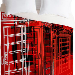 DENY Designs - DENY Designs Aimee St Hill Phone Box Duvet Cover - Make the Call. Forty winks look fabulous with the Aimee St Hill Phone Box Duvet Cover from DENY Designs. Vintage-style British telephones adorn this artist-designed piece, custom-created using a six-color printing technique that directly dyes the buttery-soft woven front. A cozy cotton-blend on the backside was created for cuddling. Perfect paired with a rotary phone on the side table. Talk about beauty rest! Pillowcases not includedAvailable in multiple sizesZip closureInterior corner tiesCustom printed for every orderWoven polyester front / cotton-polyester backMachine washableDesigned by Aimee St HillMade in the USAShips in 1 week