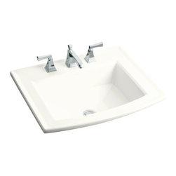KOHLER - KOHLER Archer Self-Rimming Drop-In Bathroom Sink with Single Faucet Hole - KOHLER K-2356-1-0 Archer Self-Rimming Drop-In Bathroom Sink with Single Faucet Hole in White