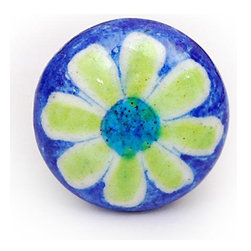 "Knobco - Single Flowers, Blue with yellow - Blue with yellow floral hand painted cabinet knobs from Jaipur, India. Unique, hand painted cabinet knobs for you kitchen cabinets. 1.5"" in diameter. Includes screws for installation."