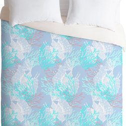DENY Designs - DENY Designs Aimee St Hill Tiger Fish Blue Duvet Cover - With the Fishes. Forty winks look fabulous with the Aimee St Hill Tiger Fish Blue Duvet Cover from DENY Designs. Coral reefs and fishes float across this artist-designed piece, custom-created using a six-color printing technique that directly dyes the buttery-soft woven front. A cozy cotton-blend on the backside was created for cuddling. Add driftwood accents to complete the coastal vibe. Talk about beauty rest! Pillowcases not includedAvailable in multiple sizesZip closureInterior corner tiesCustom printed for every orderWoven polyester front / cotton-polyester backMachine washableDesigned by Aimee St HillMade in the USAShips in 1 week