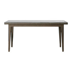 Hospitality Rattan - Soho Patio Rectangular Woven Dining Table in - The fully wrapped Soho dining table will accommodate six arm or side chairs. In a distinctive java finish, it highlights the texturing of rehau wicker, which is a synthetic that won't fade or splinter. A Plexiglas panel provides underneath support for the top. Color shown is not accurate . See additional image as an example of the EXACT product color. Made of Aluminum Frame w All Weather Rehau Fiber Wicker. Rehau Fiber Java Brown finish. Sturdy aluminum legs for extra support. Weather and UV resistant. Plexiglas is used as support underneath wicker weave. Weather and UV resistant. Accommodates up to 6 chairs. Overall: 36 in. L x 65 in. W x 31 in. H (90 lbs.)The Soho Collection is a sleek contemporary collection that offers a unique see-through modular sectional that allows endless possibilities ranging from a sofa, loveseat, armless chair setup, to a standard sectional. The Soho Collection offers a fully anodized aluminum frame, which is then woven with Rehau Java Brown fiber. Its unique look and multi-colored textured surface make it one of the most attractive collections for outdoor use. The Soho Collection only requires cushions for the seating pieces. The balance of the collection can be used without cushions. In addition, glass is optional as the table tops are fully woven and offer reinforced Plexiglas undersides for enhanced sturdiness. The rectangular dining table has a woven top. The Soho armchair, side chair and chaise lounges are all stackable items. The cushions used on the Soho collection are available with synthetic outdoor fabrics including Sunbrella. Most importantly the quality of the Soho collection makes it ideal for contract settings.