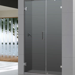 """Dreamline - UnidoorLux 46"""" Frameless Hinged Shower Door, Clear 3/8"""" Glass Door - The UnidoorLux shower door shines with a sleek completely frameless glass design. Premium thick tempered glass combined with high quality solid brass hardware deliver the look of custom glass at an incredible value."""