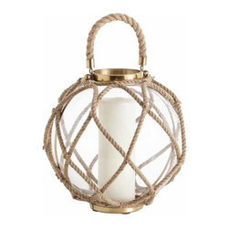"""Arteriors - Arteriors Home - Cormac Large Jute Lantern - 6988 - This clear glass sphere has been hand wrapped with a natural jute rope that has then been used to create a handle. The metal accents are finished in antique brass. This candle lantern is very nautical and natural. Features: Cormac Collection Jute LanternThe metal accents are finished in antique brassThis candle lantern is very nautical and natural Some Assembly Required. Dimensions: H 14 1/2"""" x 13"""" Dia"""