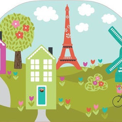 "Brewster Home Fashions - Dilly Dally Headboard Decal - Bring a special touch to your child's room with the addition of a coordinated and cute headboard. With a view of the Eiffel tower and a darling windmill this beautiful scene has a charming sense of imagination and adventure. A headboard adds a finished look to the room creating a focal point around the bed. Create an instant designer look with this beautiful peel and stick headboard decal. Measures 26""x41"""