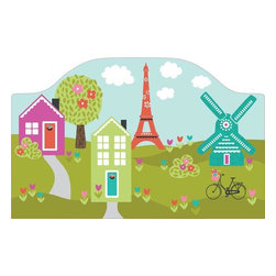 """Brewster Home Fashions - Dilly Dally Headboard Decal - Bring a special touch to your child's room with the addition of a coordinated and cute headboard. With a view of the Eiffel tower and a darling windmill this beautiful scene has a charming sense of imagination and adventure. A headboard adds a finished look to the room creating a focal point around the bed. Create an instant designer look with this beautiful peel and stick headboard decal. Measures 26""""x41"""""""