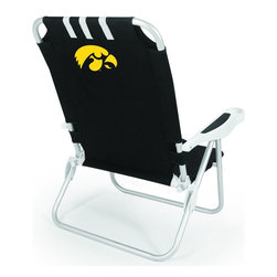 "Picnic Time - University of Iowa Monaco Beach Chair Black - The Monaco Beach Chair is the lightweight, portable chair that provides comfortable seating on the go. It features a 34"" reclining seat back with a 19.5"" seat, and sits 11"" off the ground. Made of durable polyester on an aluminum frame, the Monaco Beach Chair features six chair back positions and an integrated cup holder in the armrest. Convenient backpack straps free your hands so you can carry other items to your destination. Rest and relaxation come easy in the Monaco Beach Chair!; College Name: University of Iowa; Mascot: Hawkeyes; Decoration: Digital Print"